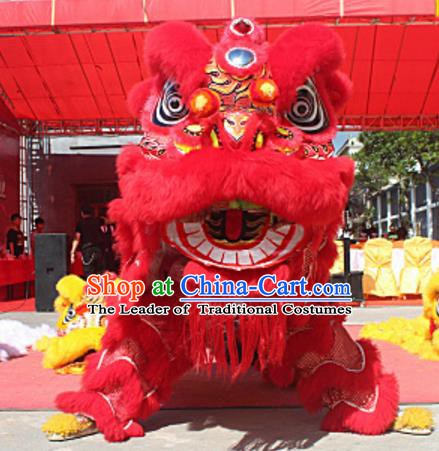 Chinese Traditional Parade Red Wool Lion Head Professional Lion Dance Costumes Complete Set