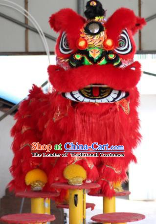 Chinese Traditional Parade Red Lion Head Professional Wool Lion Dance Costumes Complete Set