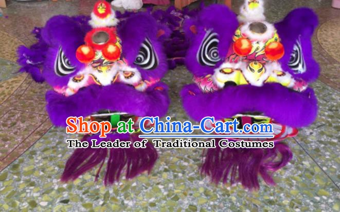Chinese Traditional Parade Purple Lion Head Professional Wool Lion Dance Costumes Complete Set