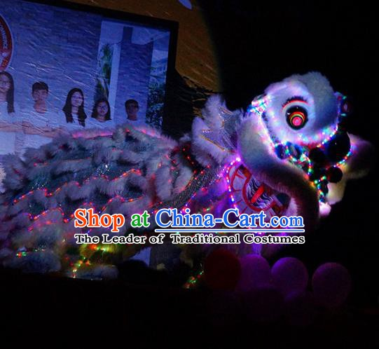 Top Grade Chinese Traditional LED Light White Lion Head Professional Lion Dance Costumes Complete Set
