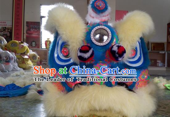 Top Grade Chinese Traditional Blue Wool Lion Head Professional Lion Dance Costumes Complete Set