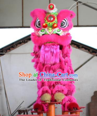 Top Grade Chinese Traditional Pink Wool Lion Head Professional Lion Dance Costumes Complete Set