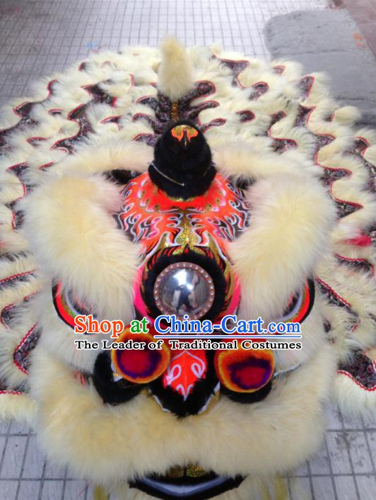 Chinese Professional Lion Dance Celebration and Parade White Wool Costumes Complete Set