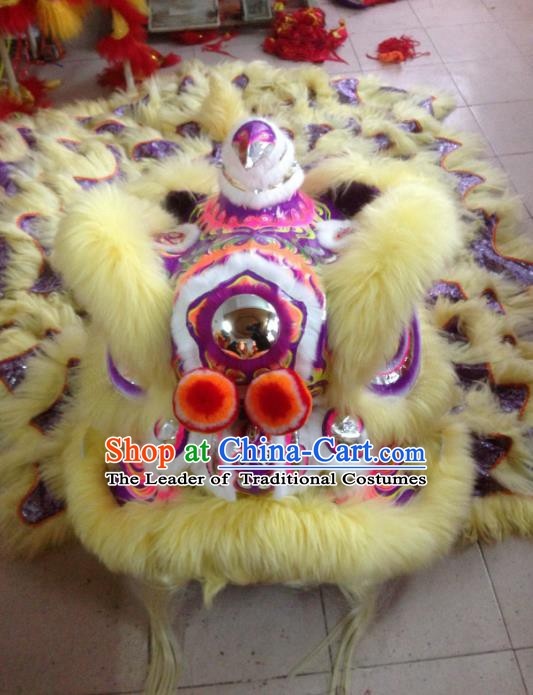 Chinese Professional Lion Dance Celebration and Parade Yellow Wool Costumes Complete Set