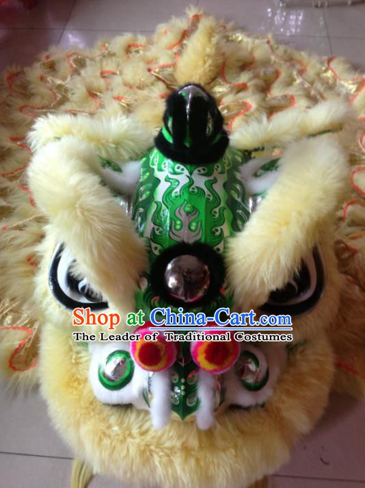 Chinese Professional Lion Dance Celebration and Parade Green Lion Head Costumes Complete Set