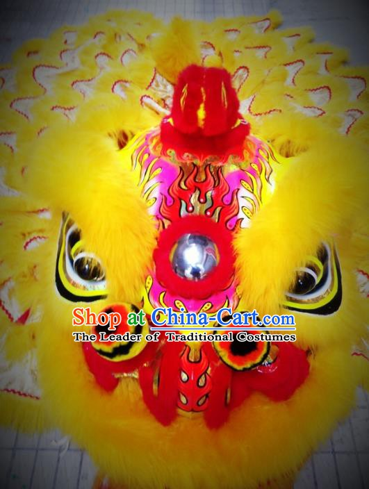 Chinese Professional Lion Dance Costumes Celebration and Parade Yellow Wool Lion Head Complete Set