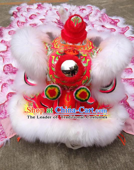 Chinese Professional Lion Dance Costumes Celebration and Parade White Wool Lion Head Complete Set