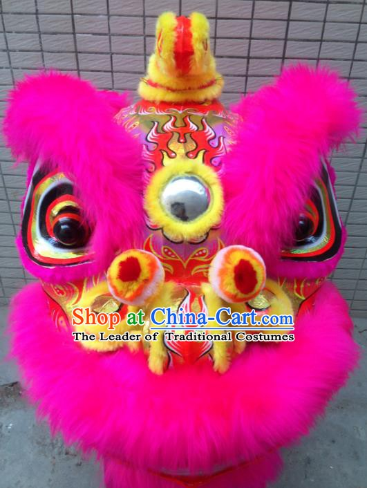 Chinese Traditional Professional Lion Dance Costumes Celebration and Parade Pink Wool Lion Head Complete Set