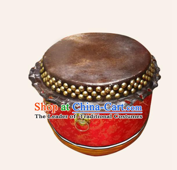 China Traditional Lion Dance Instruments Cowhide Red Drum Lion Leather Wood Drums