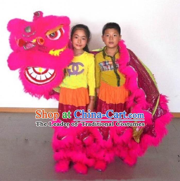 Chinese Traditional Children Lion Dance Costumes Professional Celebration Parade Pink Wool Lion Head Complete Set