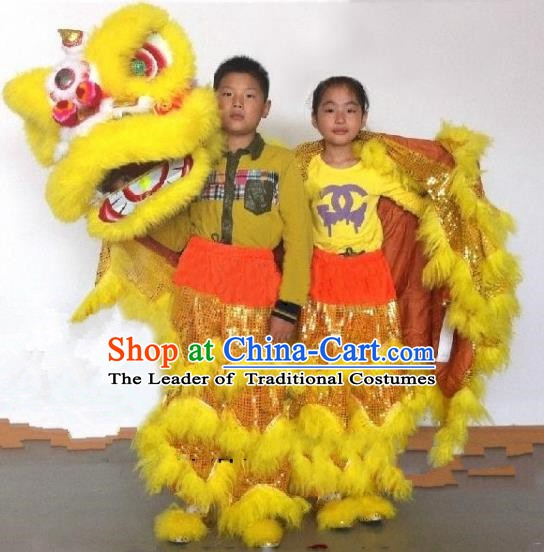 Chinese Traditional Children Lion Dance Costumes Professional Celebration Parade Yellow Wool Lion Head Complete Set