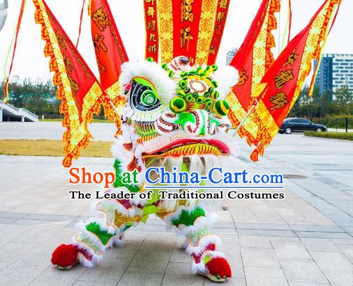 Chinese Traditional Green Wool Lion Dance Costumes Professional Celebration Parade Lion Head Complete Set