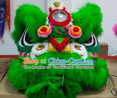 Chinese Traditional Parade Green Wool Lion Head Professional Celebration Lion Dance Costumes Complete Set