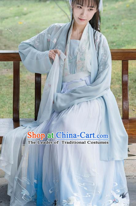 Traditional Chinese Ancient Princess Costume Song Dynasty Palace Lady Embroidered Hanfu Dress for Women