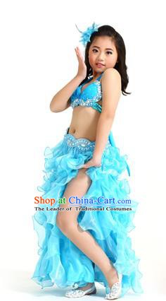 Traditional Indian Belly Dance Blue Dress Asian India Oriental Dance Costume for Kids