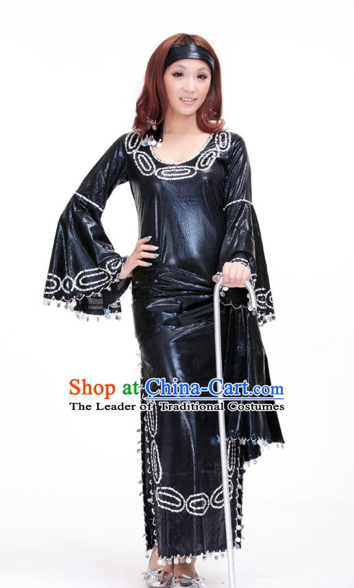Traditional Romany Performance Black Dress Oriental Dance Belly Dance Costume for Women