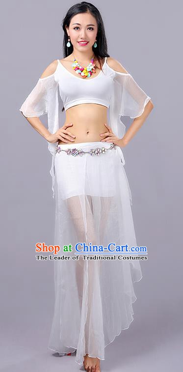 08f72ea3f Traditional Indian Stage Performance White Costume Oriental Belly Dance  Clothing for Women