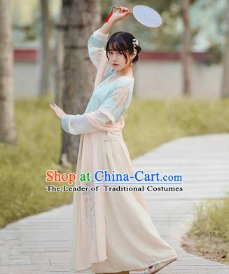 Chinese Ancient Tang Dynasty Court Lady Embroidered Dress Costumes for Women