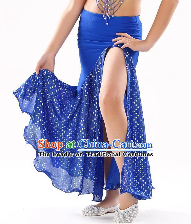 Traditional India Oriental Bollywood Dance Royalblue Skirt Indian Belly Dance Costume for Kids