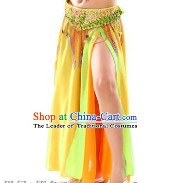 Traditional Indian Children Stage Dance Yellow Skirt Belly Dance Costume for Kids
