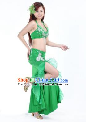 Traditional Indian Stage Oriental Dance Green Dress Belly Dance Costume for Women