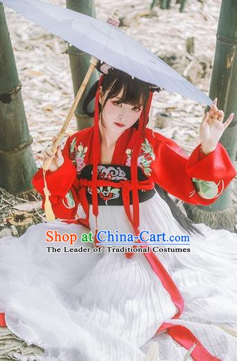 Chinese Ancient Tang Dynasty Court Princess Costumes Embroidered Dress for Women