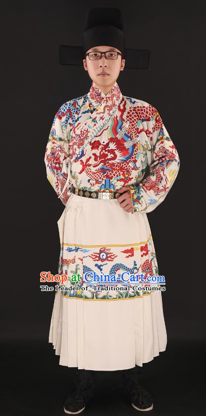 Chinese Ancient Ming Dynasty Imperial Guards Costumes Swordsman Embroidered Robe for Men