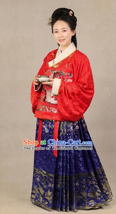 Chinese Traditional Ming Dynasty Wedding Embroidered Costume China Ancient Bride Clothing for Women