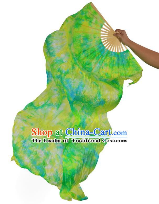 Indian Belly Dance Props Green Silk Folding Fans Stage Performance Dance Fan for Women