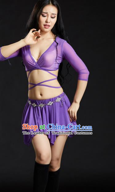82a8db415 Indian Traditional Yoga Costume Purple Uniform Oriental Dance Belly Dance  Stage Performance Clothing for Women