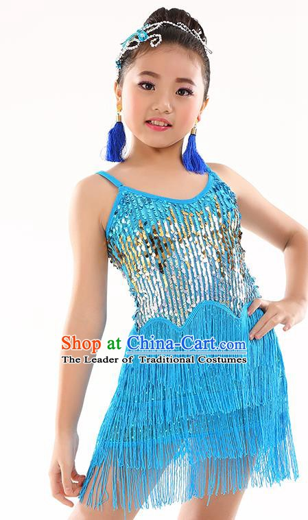 Children Modern Dance Jazz Latin Dance Costume Classical Dance Blue Dress for Kids