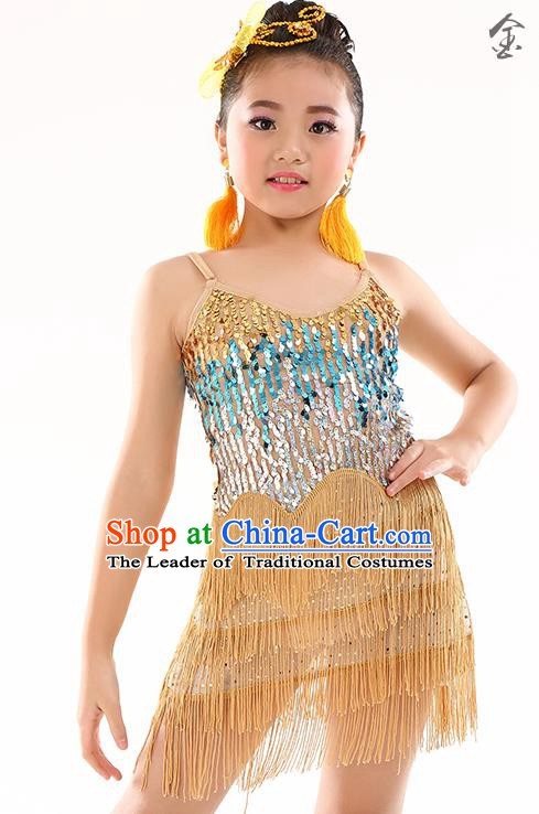 Children Modern Dance Jazz Latin Dance Costume Classical Dance Golden Dress for Kids