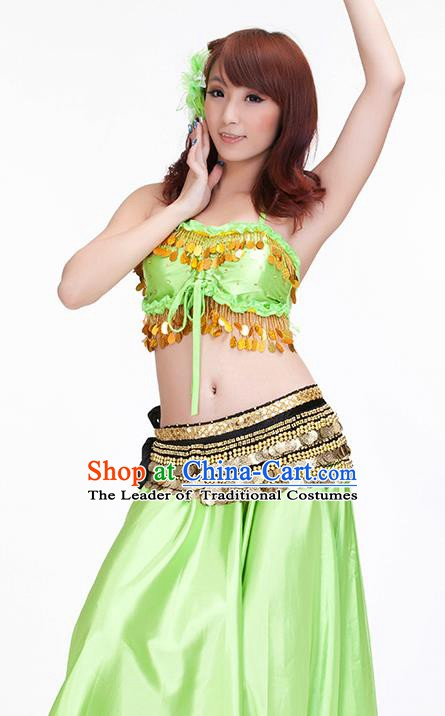 Indian Belly Dance Light Green Dress Classical Traditional Oriental Dance Performance Costume for Women
