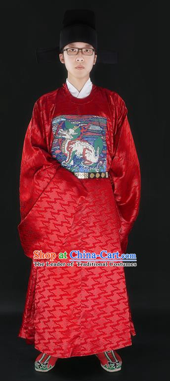 Ancient Chinese Ming Dynasty Prime Minister Gwanbok Costume and Headwear Complete Set for Men