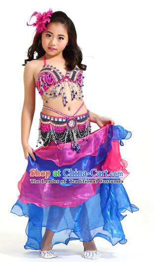 05e1be5e39 Asian Indian Children Belly Dance Rosy and Blue Dress Stage Performance  Oriental Dance Clothing for Kids