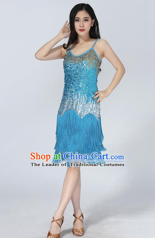 Professional Latin Dance Sequin Blue Dress Ballroom Dance Modern Dance Clothing for Women