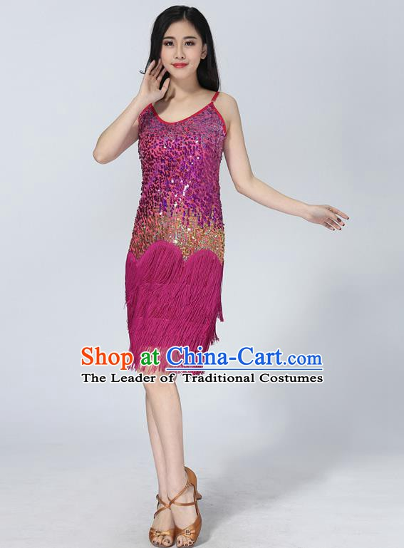 Professional Latin Dance Sequin Rosy Dress Ballroom Dance Modern Dance Clothing for Women