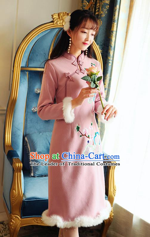 Chinese National Tangsuit Pink Wool Qipao Dress Embroidered Cheongsam Clothing for Women