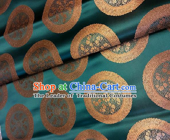 Chinese Traditional Fabric Palace Pattern Design Green Brocade Chinese Mongolian Robe Fabric Asian Material