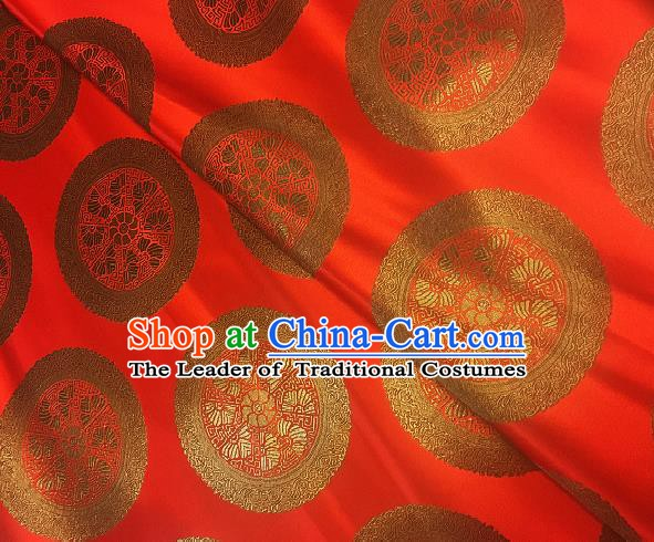 Chinese Traditional Fabric Palace Pattern Design Red Brocade Chinese Mongolian Robe Fabric Asian Material