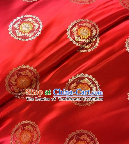 Chinese Traditional Mongolian Robe Fabric Palace Pattern Design Red Brocade Chinese Fabric Asian Material