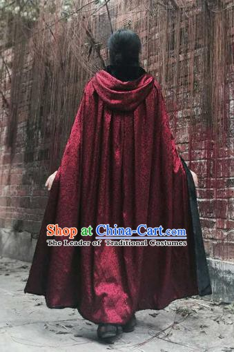 Chinese Ancient Swordsman Costume Knight Wine Red Long Cloak for Men