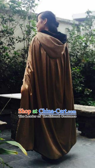 Chinese Ancient Swordsman Costume Knight Brown Long Cloak for Men