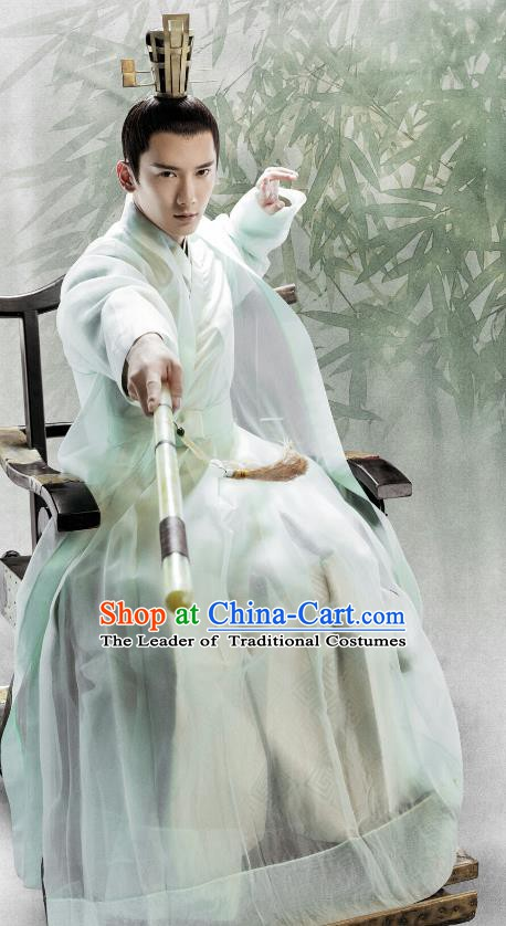 Chinese Ancient Knight-Errant Costume Theatre Performances Swordsman Hanfu Clothing for Men