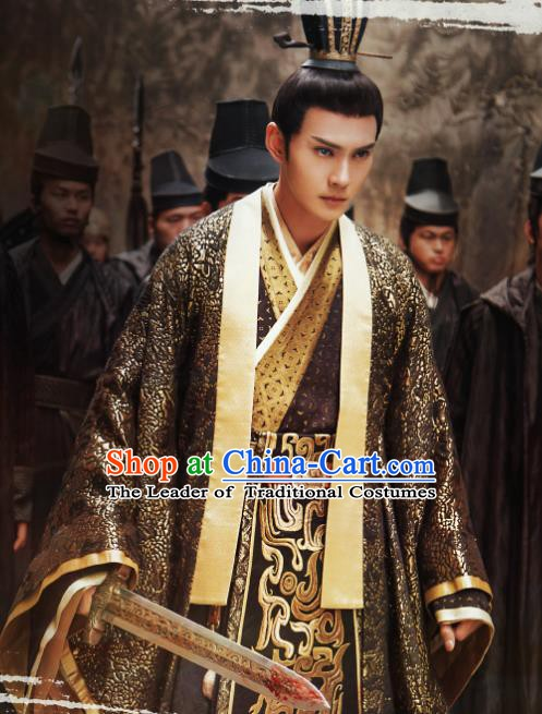 Chinese Southern and Northern Dynasties Swordswoman Costume Ancient Knight-Errant Hanfu Clothing for Men