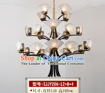 Asian China Traditional Handmade Lantern Three Layers Sector Ceiling Lamp Ancient Palace Lanern