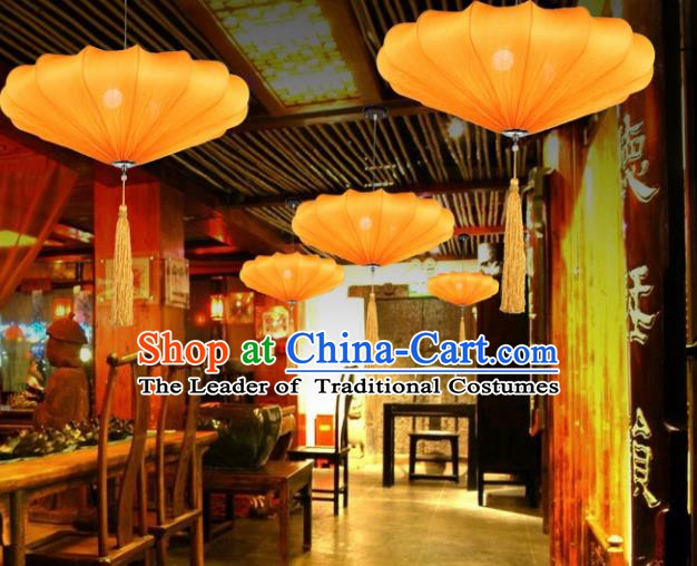 Traditional China Handmade Yellow Lantern Ancient New Year Hanging Lanterns Palace Ceiling Lamp