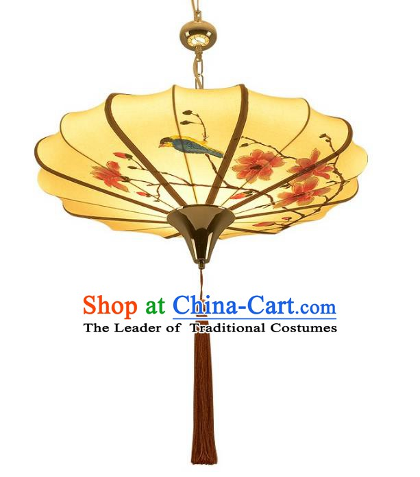 China Handmade Hanging Lantern Traditional Flowers Birds Lanterns New Year Palace Ceiling Lamp