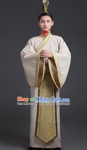 Chinese Ancient Han Dynasty Aristocrat Swordsman Costume Theatre Performances Clothing for Men