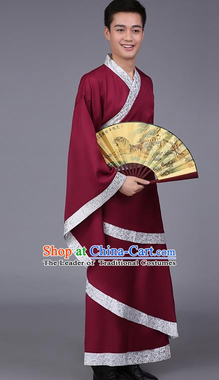 China Ancient Han Dynasty Scholar Costume Wine Red Curving-front Robe for Men
